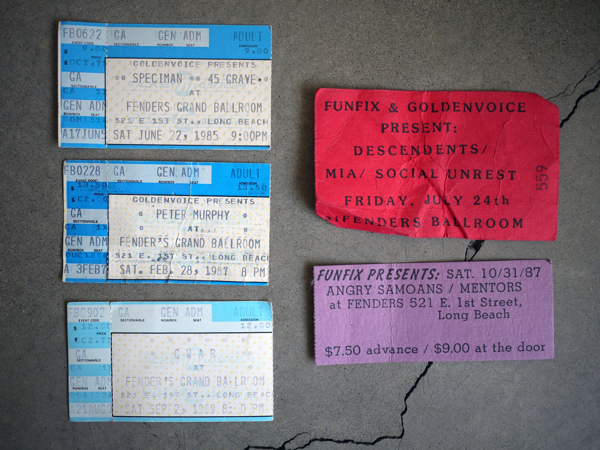 Fender's Ballroom tickets (1985-1989)